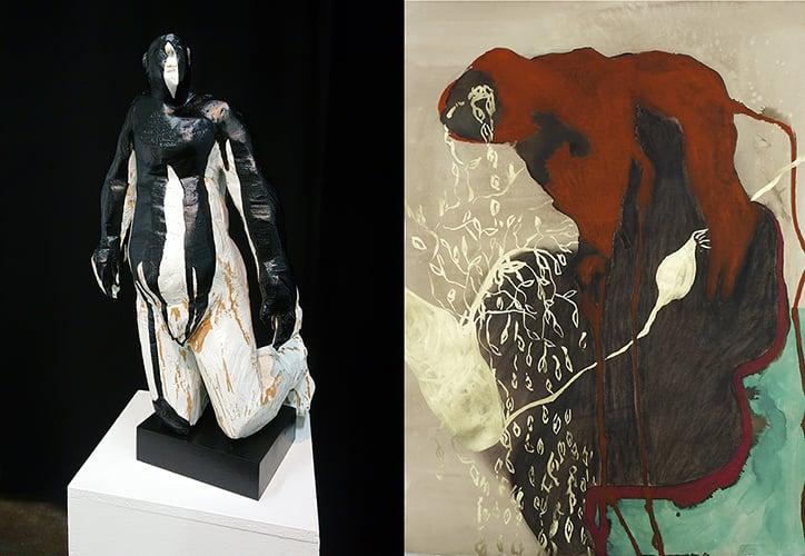 Kuvanveistäjä Reetta Gröhn-Soinisen teos Mourning Cloak, 2020 ja taidemaalari Aura Hakurin teos Kevät, 2020.