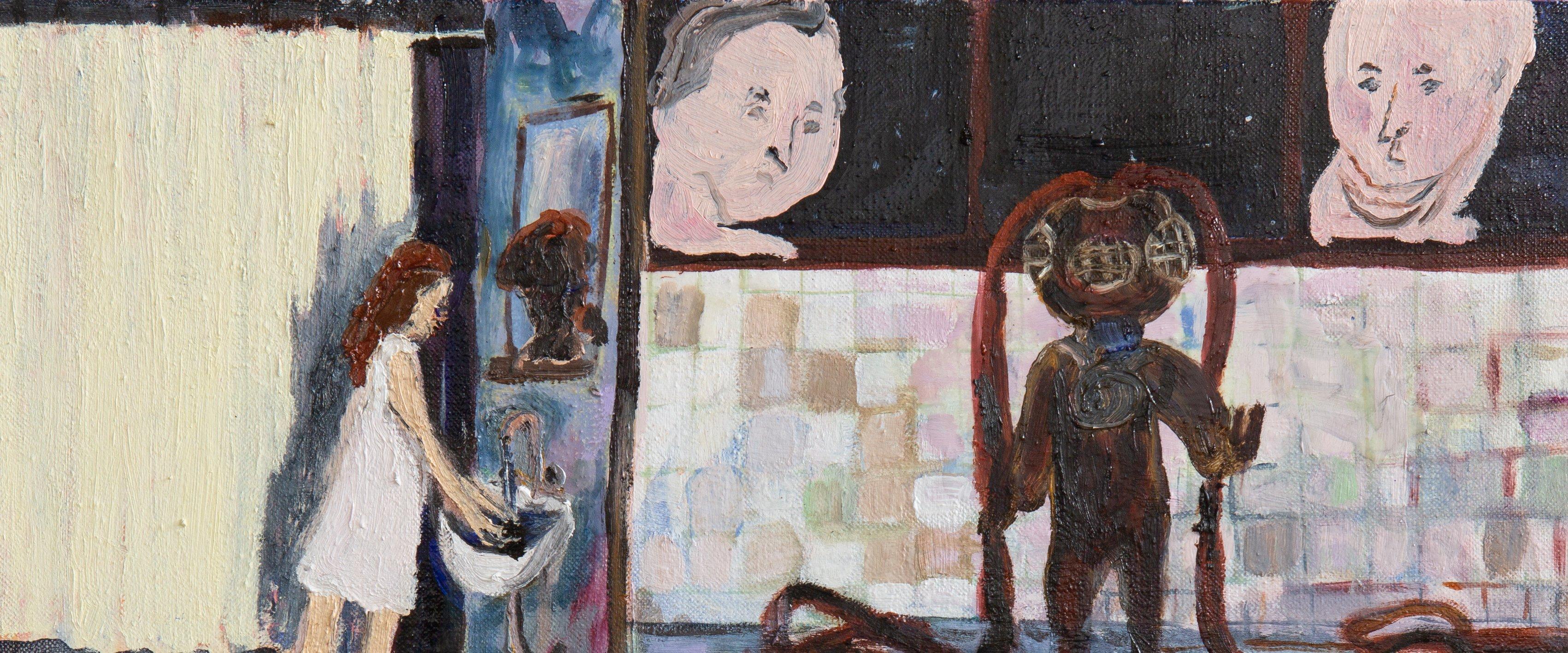 Yksityiskohta taidemaalari Eeva Peuran teoksesta.