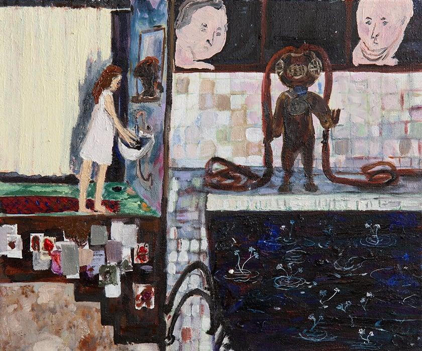 Taidemaalari Eeva Peuran teos Rakkaus vie meidät moniin paikkoihine, 2021, öljy kankaalle.
