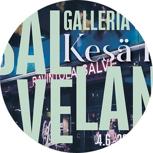 Yksityiskohta Galleria Liven kesänäyttelyn Salvelan kesä IX'n kutsukortista.