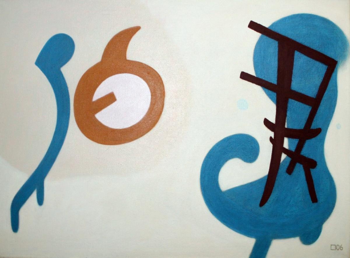 Taidemaalari Tapani Tammisen teos Siniset valkoisella, akryyli kankaalle vuodelta 2006.